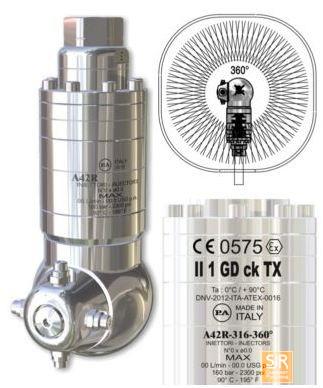 ержатели форсунок и головки с вращающимися форсунками: A42R-316 -360° - очиститель емкости с автономным приводом CE