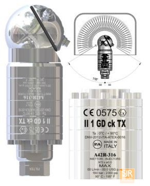 Держатели форсунок и головки с вращающимися форсунками: A42 R Ai316 - очиститель емкости с автономным приводом CE